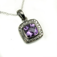 Sterling Silver Amethyst Necklace - Natural Champagne Diamonds - Oxidized Sterling Silver - February Birthstone