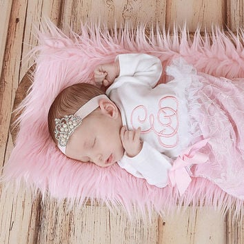 Pretty in Pink  Coming Home Outfit, Going Home Outfit, Layette, Newborn Nightgown, Newborn Dress, Newborn , Baby Shower Gift