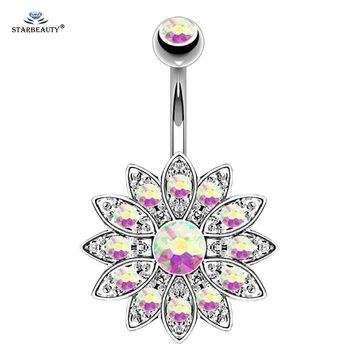 Starbeauty 1pc Rainbow Lotus Belly Piercing Belly Button Rings Navel Piercing Ombligo Flower Belly Ring Earring Body Jewelry