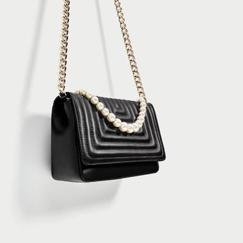 LEATHER CROSSBODY BAG WITH FAUX PEARL DETAILSDETAILS