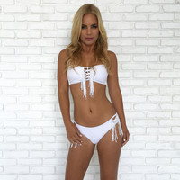 Fringe To The End Bikini Set - White