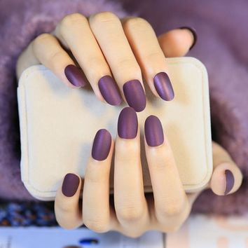 Matte Style Fake Nails Round Wine Grape Purple Lady Acrylic False Nail Kit 24pcs with Double Side Adhesive sticker Perfect Z268