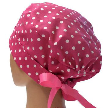 Women's Pixie Surgical Scrub Hat Cap in Bébe Pink Dots