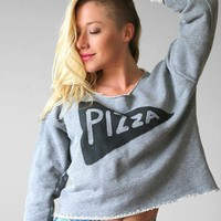 Slouchy Womens Pizza Party Crop Top Sweatshirt