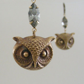 Vintage Earrings - Owl Earrings - Rhinestone Earrings - Statement Earrings - Handmade Jewelry