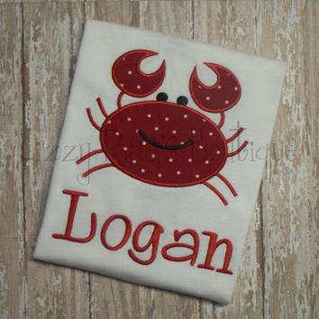 Crab applique shirt- summer applique outfit- toddler boys applique shirt