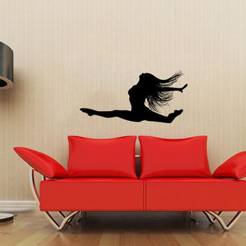 Girl Dancing Silhouette Wall Vinyl Decal Stylish Sticker Housewares Art Design Murals Interior Decor Dance Studio SV4567