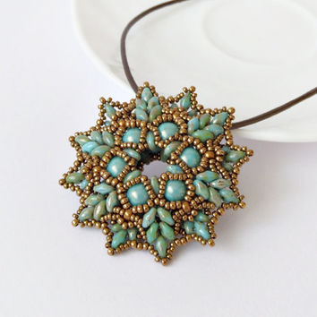 Bronze turquoise beadwork pendant, elegant pendant, Superduo pendant, beadwoven necklace, seed beaded necklace, office jewelry