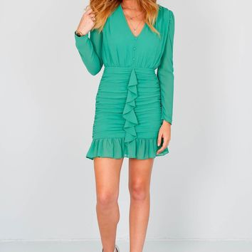 ENDLESS ROSE | Romy Ruches Chiffon Mini Dress - Jade