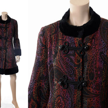 Vintage 60's Black Faux Fur Rainbow Tapestry Coat 1960s Mod Carnaby Street Paisley Floral Hippie Boho Princess Coat Jacket / M / L