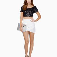 Short Sleeves Scoop Neck Sequined Crop Top