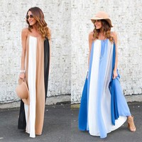 Female clothes sexy sling backless sleeveless ladies sundresses 2017 summer loose beach long  women dress