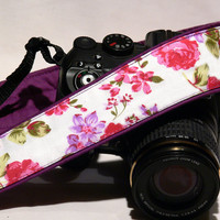Flowers Camera Strap. Canon Nikon Camera Strap. Camera Accessories. Purple, Red, Pink. Gift For Her. For Women.