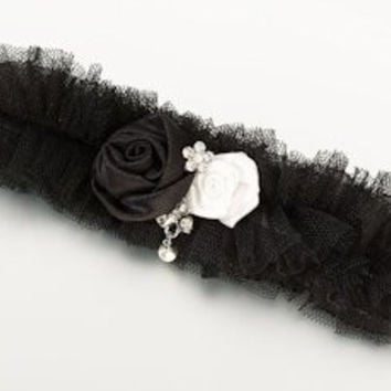Black Tulle Jeweled Garter