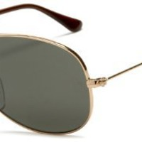 Ray-Ban RB3362P New Classic Aviator Polarized Sunglasses,Gold Frame/Green Polarized Lens,59 mm