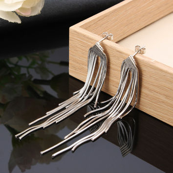 S925 Sterling Silver Earrings Long Tassel Elegant Line Earrings