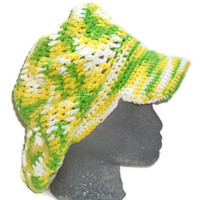 Hand Crochet Beret Hat - Pastel Yellow, Green and White - Fashion  Accessory -Ready to Ship