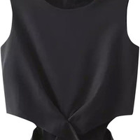 Cut-Out Sleeveless Cropped Top
