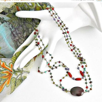 ON SALE Multistrand Necklace, Vintage Triple Strand Necklace, Multicolor Semi-Precious Stones Necklace, Handcrafted, Hand Knotted, Beaded Ne