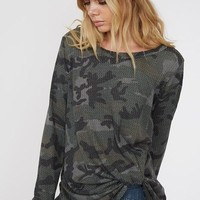 Long Sleeve Camo Twisted Hem Thermal Waffle Knit