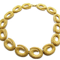 Gold Swirl Textured Choker Necklace Statement Vintage Jewelry 16 Inches Long Designer Runway Gift Ideas Prom Jewelry Abstract Jewelry