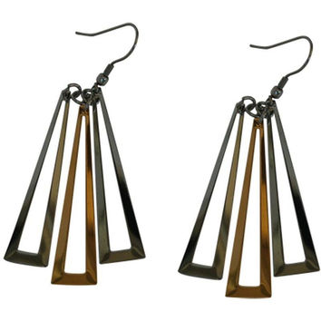 Stainless Steel Earrings Multi-tone Triangle Drop