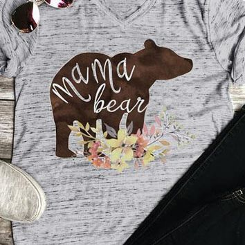 Floral Mama Bear Printed T-Shirt - Ladies Novelty T-Shirts