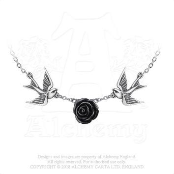 Alchemy Gothic Love Returns Black Rose & Sparrows Pendant Necklace