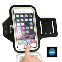 """iPhone 7 / 8 PLUS Running Armband with Fingerprint ID Access. Sports Phone Arm Case Holder for Small 9"""" - Large 20"""" Arms. Deisgned for Runners, Gym Workouts & Extreme Exercise"""