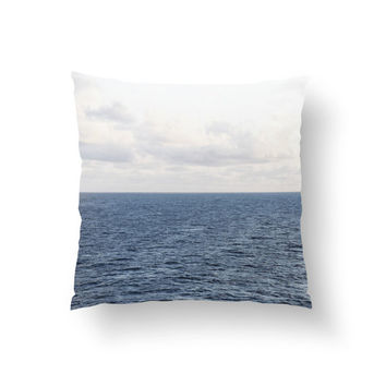 Cobalt Sea - Throw Pillow Cover, Blue Ocean Nautical Furnishings, Coastal Decor Home Interior Accent Pillow. 14x14 16x16 18x18 20x20 26x26
