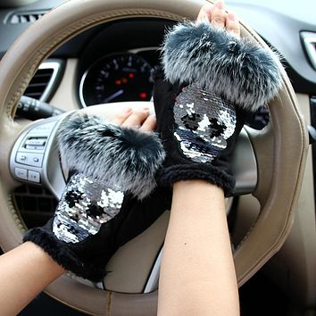 Magic Gloves Women Skull Fur Gloves Suede half finger Mittens