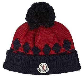 Navy and Red Signature Beanie by Moncler