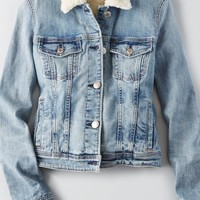AEO Women's Lined Denim Jacket (Authentic Light)