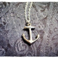 Tiny Anchor Charm Necklace in Sterling by EvelynMaeCreations