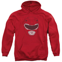 POWER RANGERS/RED RANGER MASK-ADULT PULL-OVER HOODIE-RED