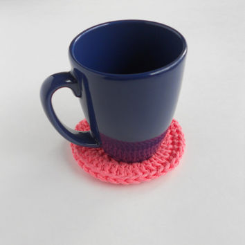 Crochet Coasters Set of 4 / Spring Summer Coasters / Iced Strawberry