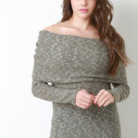 Fold Over Off The Shoulder Cowl Sweater