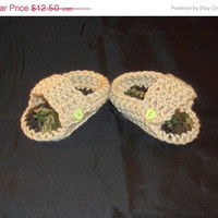 HALF OFF Camo & Tan Crocheted Baby Sandals - 0 to 6 months