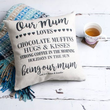 'Mum Loves' Personalised Cushion Cover