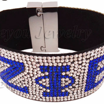 ZETA PHI BETA  Logo  rhinestone  greek divine sorority jewelry fancy ZPB gift bangle  bracelet