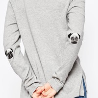 ASOS Jumper With Pug Elbow Patch at asos.com