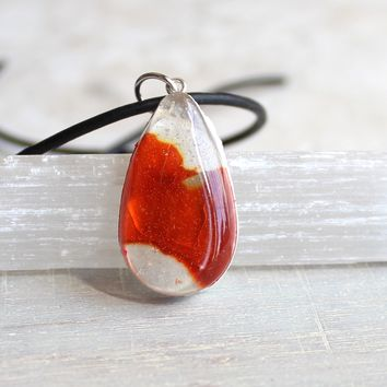 Teardrop necklace - orange and white