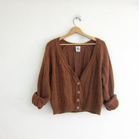 20% OFF SALE Vintage cardigan sweater. Cable knit cropped sweater. brown button up sweater