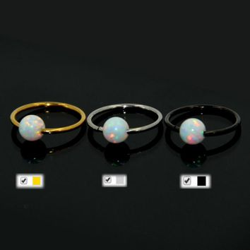 Showlove-1pcs Surgical Steel&Fire Snow White Opal Ball Nose Ring Earring Ear Tragus Ring Body Piercing Jewelry