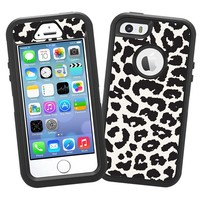 """Black and White Leopard """"Protective Decal Skin"""" for OtterBox Defender iPhone 5s Case"""