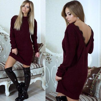LMFONS Winter Women Casual Simple Solid Color Backless Deep V Lace Stitching Long Sleeve Mini Dress