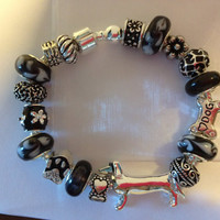 EBONY -  Dachshund Wiener Dog Mom Bracelet with Beads