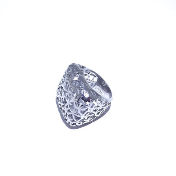 Square Stainless Steel Floral Cutout Cocktail Ring : SIZE 7