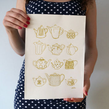 tea pots print, gold ink print, golden tea pots, antique tea pots illustration, beautiful wall art, gift for mother, auntie, housewarming
