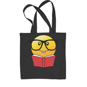 Emoticon Book Nerd with Glasses Shopping Tote Bag